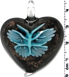Glass Heart Pendant Sky Blue PD1411