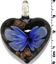 Glass Heart Pendant Royal Blue PD1413