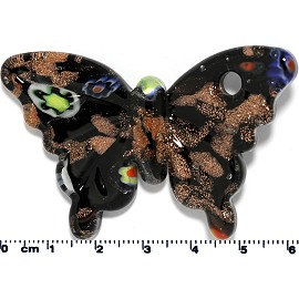 Glass Butterfly Pendant Final Sale Black Gold PD1433