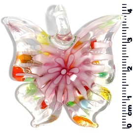 Glass Butterfly Pendant Pink Multi PD1447