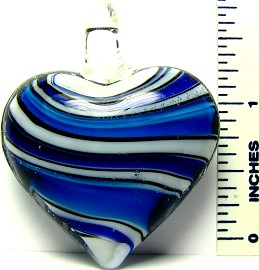 Blue Black White Stripe Heart Glass Pendant PD1459