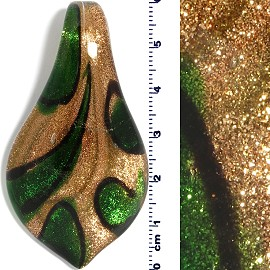 Glass Leaf Pendant Gold Green Black PD1478