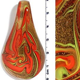Glass Leaf Pendant Gold Red PD1492