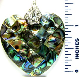 Green Heart Abalone Crystals Pendant PD1604