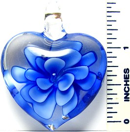 Blue Flower Clear Heart Glass Pendant PD1795