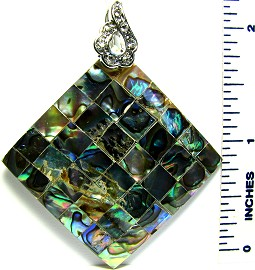 Green Square Crystal Abalone Pendant PD1867