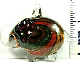 Green Orange Elephant Glass Pendant PD2199