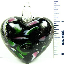 Green Pink Black Heart Glass Pendant PD2234 - Click Image to Close