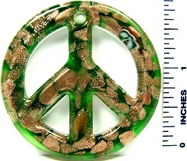 Green Gold Peace Sign Glass Pendant PD2372