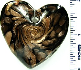 Black Gold Wave Heart Glass Pendant PD2409