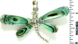 Green Dragonfly Abalone Pendant PD2518