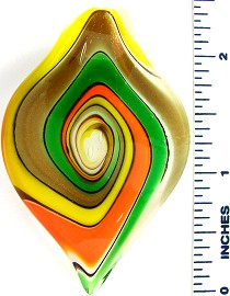 Green Yellow Orange Leaf Glass Pendant PD2589