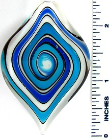 Blue Teal White Point Leaf Glass Pendant PD2613