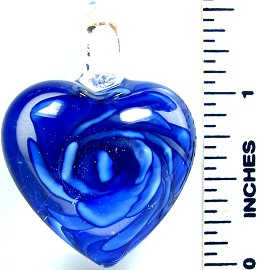 Blue Clear Round Small Heart Flower Glass Pendant PD2643