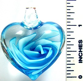 Sky Blue Clear Round Small Heart Flower Glass Pendant PD2644