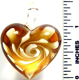 Peach Clear Round Small Heart Flower Glass Pendant PD2645