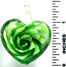 Green Clear Round Small Heart Flower Glass Pendant PD2646