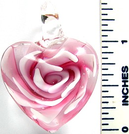 Pink Clear Round Small Heart Flower Glass Pendant PD2647