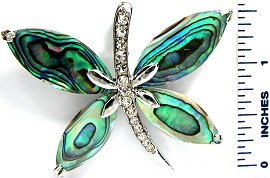 Large Green Silver Crystals Dragonfly Abalone Pendant PD2680