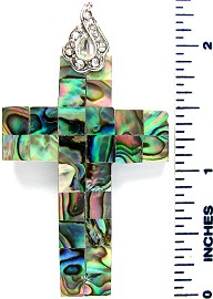 Green Cross Abalone Pendant PD2699