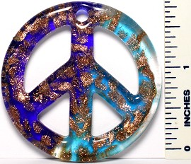 Blue Teal Gold Peace Sign Glass Pendant PD2884