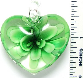 Glass Pendant Heart Flower Clear Green PD3066
