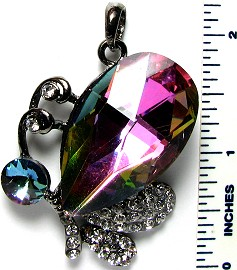 Crystal Pendant Aura Borealis Butterfly PD3250