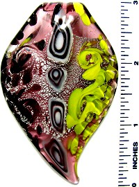 Glass Pendant Leaf Oval Tip Pink Yellow Black PD3288