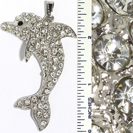 Crystal Rhinestone Pendant Dolphin Silver PD3368