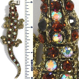 Rhinestone Pendant Gator Brown Aura Gold PD3399