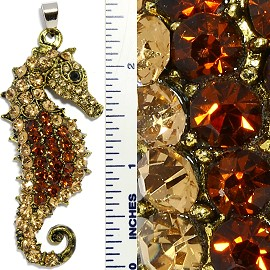 Rhinestone Pendant Seahorse Gold Brown PD3400