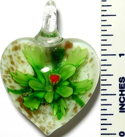 Glass Pendant Flower Heart White Green PD3408