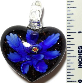 Glass Pendant Flower Heart Black Blue PD3410