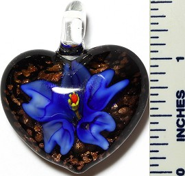 Glass Pendant Flower Heart Black Blue PD3411