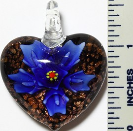 Glass Pendant Flower Heart Black Blue PD3412