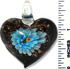 Glass Pendant Flower Heart Black Sky Blue PD3424