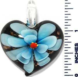 Glass Pendant Flower Heart Black Sky Blue PD3425