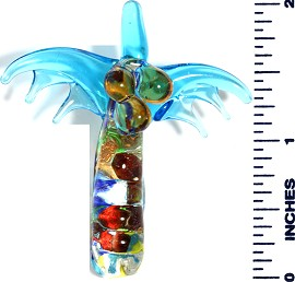 Glass Pendant Palm Tree Sky Blue PD3434