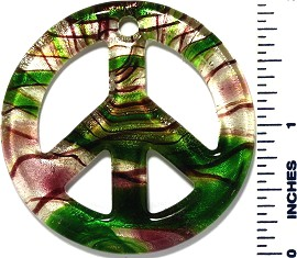Glass Pendant Peace Sign Green Purple PD3465
