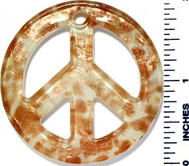Glass Pendant Peace Sign Gold White PD3468