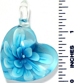 Glass Pendant Flower Heart Clear Sky Blue PD3487