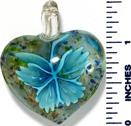 Glass Pendant Flower Heart Clear Sky Blue PD3488