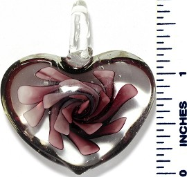 Glass Pendant Flower Big Heart Clear Purple PD3489