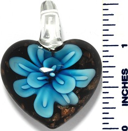 Glass Pendant Flower Heart Black Sky Blue PD3495