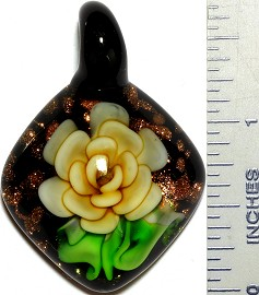 Glass Pendant Flower Square Gold Green Yellow PD3502