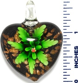 Glass Pendant Heart Flower Black Gold Green PD3519