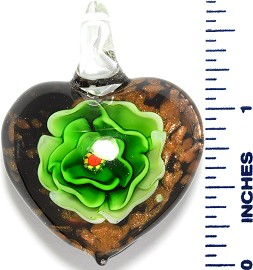 Glass Pendant Heart Flower Black Gold Green PD3520