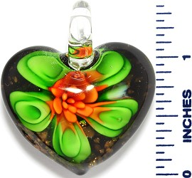 Glass Pendant Heart Flower Black Gold Green Orange PD3521