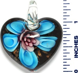 Glass Pendant Heart Flower Black Gold Sky Blue Purple PD3523