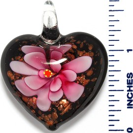 Glass Pendant Heart Flower Black Gold Pink PD3531